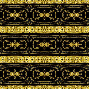 Vintage Tiki Gold and Black Chain Pattern