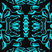Vintage Tiki Floral Black and Teal Motif