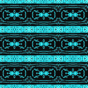 Vintage Tiki Teal and Black Chain Pattern