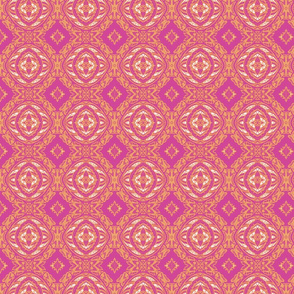 Vintage Tiki Gold and Pink Orb Pattern