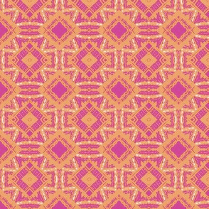 Vintage Tiki Diamond Gold and Pink Pattern