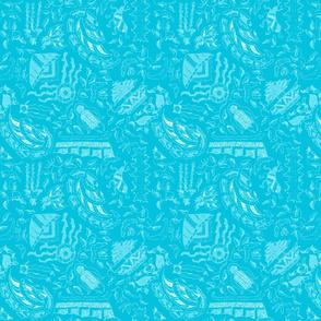 Vintage Tiki Teal Motif