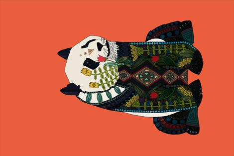 panda orange tea towel fabric by scrummy on Spoonflower - custom fabric