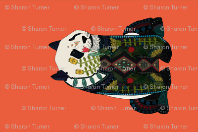 panda orange tea towel
