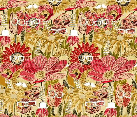 fashionista geek flora fabric by scrummy on Spoonflower - custom fabric