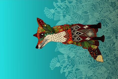 ice floral fox tea towel fabric by scrummy on Spoonflower - custom fabric