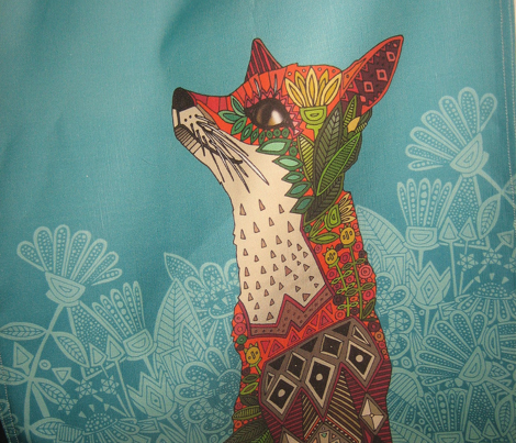 ice floral fox tea towel