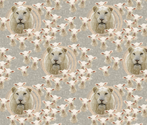 Spring lambs and lions fabric by su_g on Spoonflower - custom fabric