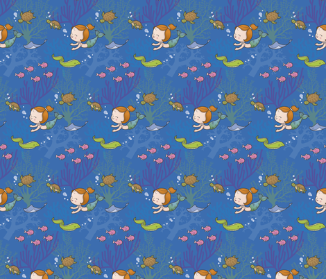 Mermaid and friends fabric by macywong on Spoonflower - custom fabric