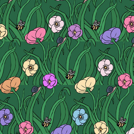 Bees and Flowers Multi fabric by pond_ripple on Spoonflower - custom fabric