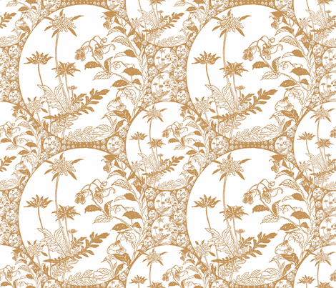 Floral Japonica - Tan fabric by telden on Spoonflower - custom fabric