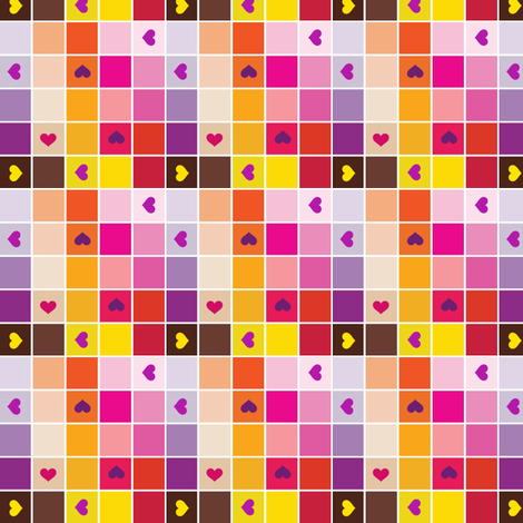 Colorblocks - Warm Hearts - © PinkSodaPop 4ComputerHeaven.com fabric by pinksodapop on Spoonflower - custom fabric