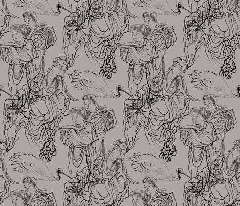 Rinnasei, Chinese Poet - Art from Japan fabric by telden on Spoonflower - custom fabric