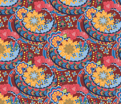 Scroll Flowers Bold fabric by angelger28 on Spoonflower - custom fabric