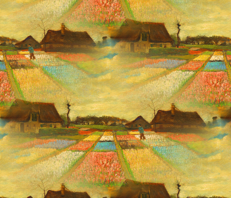 Van Gogh Flower Beds in Holland fabric by telden on Spoonflower - custom fabric