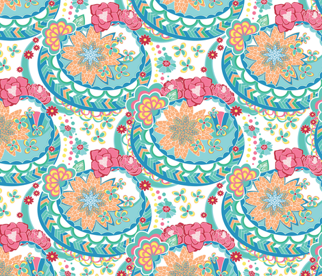 Scroll Flowers Sweet fabric by angelger28 on Spoonflower - custom fabric
