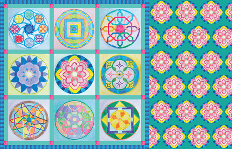 Doll Sized Mandala Quilt fabric by elizabeth on Spoonflower - custom fabric
