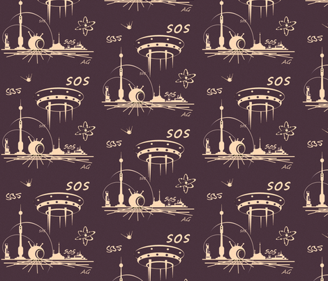 My space fabric by retroretro on Spoonflower - custom fabric