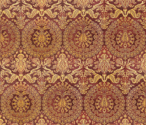 Catherine of Aragon ~ Maroon and Goldenrod fabric by peacoquettedesigns on Spoonflower - custom fabric