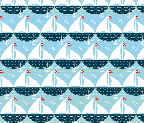 palette restricted sailing ship scallop fabric by glimmericks on Spoonflower - custom fabric