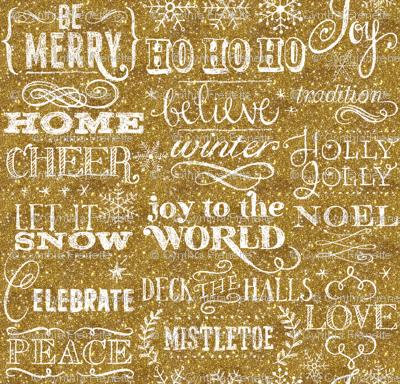 Christmas Sayings, Gold Glitter