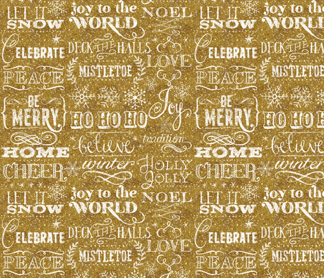 Christmas Sayings, Gold Glitter fabric by cynthiafrenette on Spoonflower - custom fabric