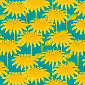 YELLOW FLOWER on teal