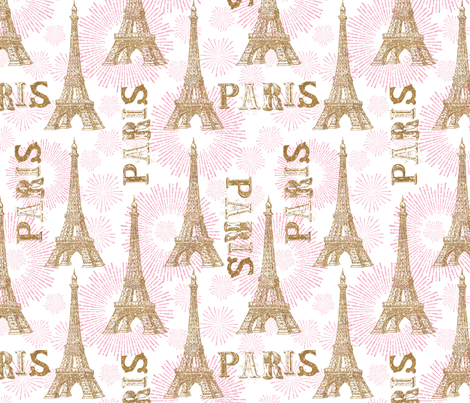 Sparkle Eiffel Tower fabric by cynthiafrenette on Spoonflower - custom fabric