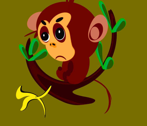Monkey Big fabric by retroretro on Spoonflower - custom fabric