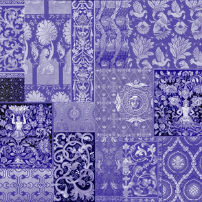 Henry VIII Was A Cheater ... Quilt ~ Indigo/Purple/Blue and White