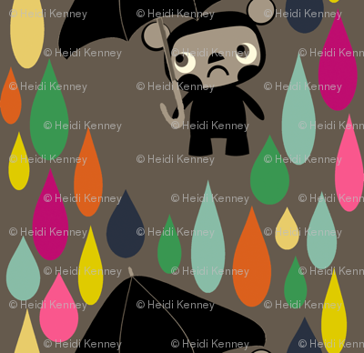 Cry Baby Bear rainbow rain on grey