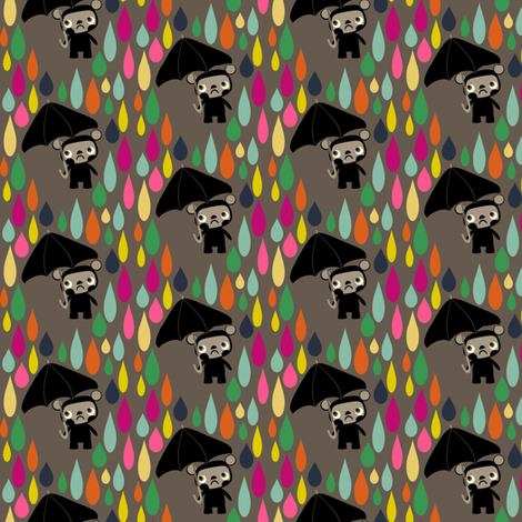Cry Baby Bear rainbow rain on grey fabric by heidikenney on Spoonflower - custom fabric