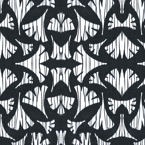 Ginkgo leaf woodcut - black and white fabric by materialsgirl on Spoonflower - custom fabric