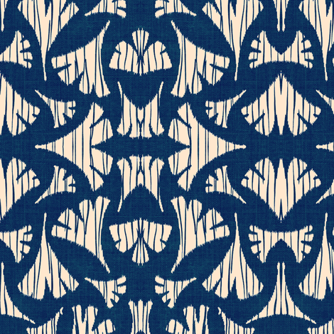 Ginkgo Leaf woodcut - navy blue and white fabric by materialsgirl on Spoonflower - custom fabric