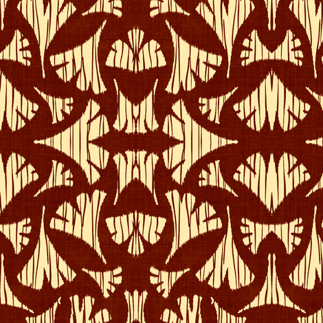 Ginkgo Leaf woodcut - wine/off white fabric by materialsgirl on Spoonflower - custom fabric