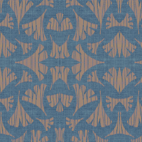 Ginkgo leaf woodcut - light blue/beige fabric by materialsgirl on Spoonflower - custom fabric