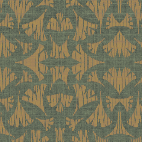 Ginkgo leaf woodcut - forest/caramel fabric by materialsgirl on Spoonflower - custom fabric