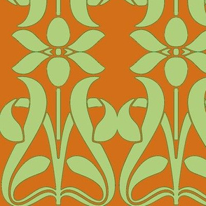 Art Nouveau52-orange/green