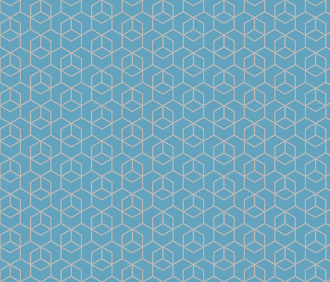 Hexagon trellis - grey on blue fabric by little_fish on Spoonflower - custom fabric