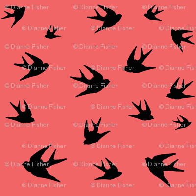 Flying sparrow - black on coral