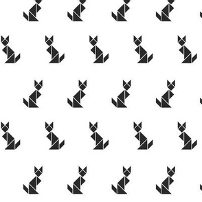 Tangram cats - black on white