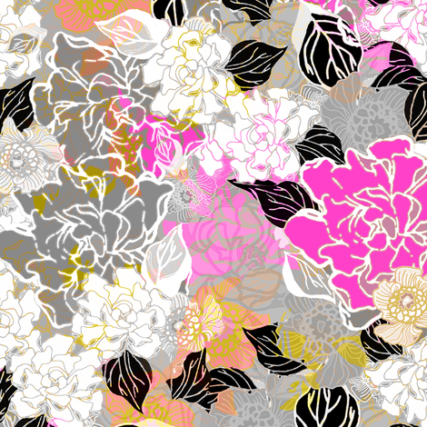 Jungle Floral tossed  and layered fabric by joanmclemore on Spoonflower - custom fabric