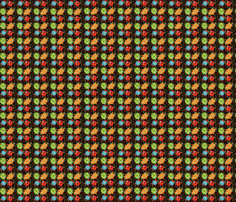 Monster's Repeat Small on Black fabric by tracydw70 on Spoonflower - custom fabric