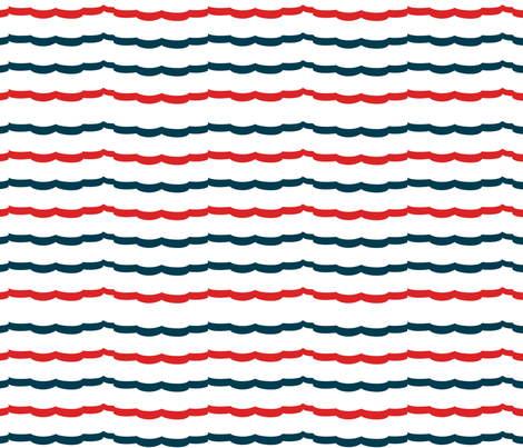 Navy and Red Scallop stripes fabric by karenharveycox on Spoonflower - custom fabric