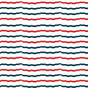 Navy and Red Scallop stripes