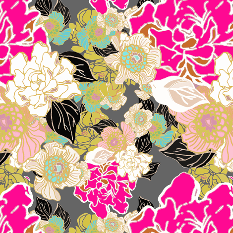Jungle Passion mustard turquoise pink black fabric by joanmclemore on Spoonflower - custom fabric