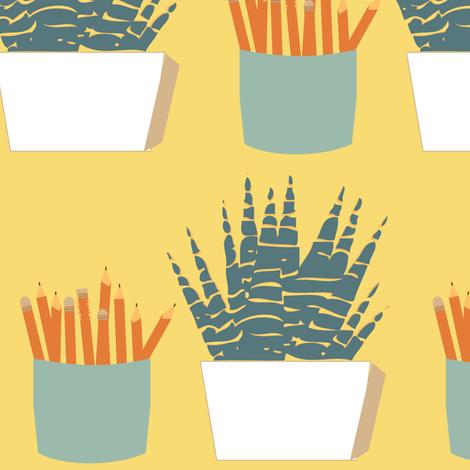 Desk Buddies: Pencils and Plants fabric by laurawilson on Spoonflower - custom fabric