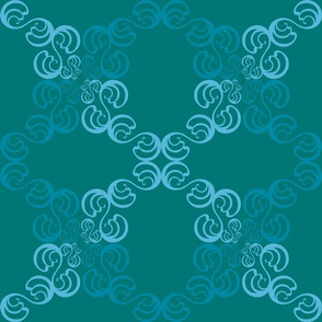 Swirl Deisgn on Deep Sea Green