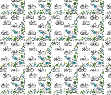 Bikes and Flowers fabric by natalulu_too on Spoonflower - custom fabric