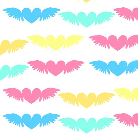 Heart Wings! - Beachy Vibes  - © PinkSodaPop 4ComputerHeaven.com fabric by pinksodapop on Spoonflower - custom fabric